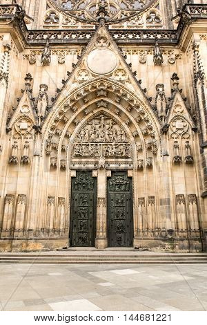 Gothic portal of  Saint Vitus Cathedral in Prague