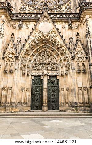 Gothic portal of  Saint Vitus Cathedral in Prague