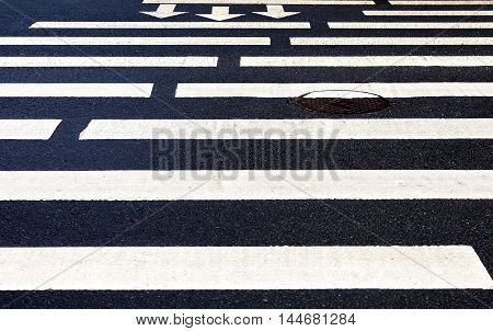 Zebra crossing with white marking lines and direction of motion on asphalt
