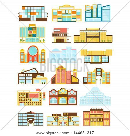 Shopping Mall Buildings Exterior Design Set Of Flat Simplified Bright Color Icons Isolated On White Background
