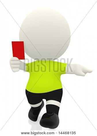 3D Referee showing a red card - isolated over white
