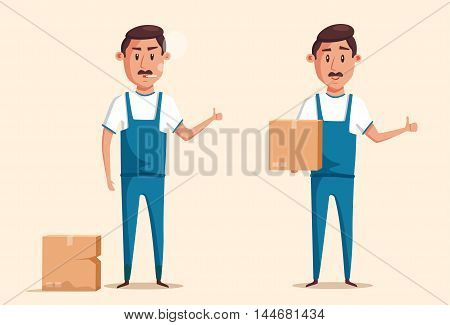 Good and bad workers in uniform. Cartoon vector illustration. Relocation. Move. Character design. Transport company. Box in hand. Cute loader