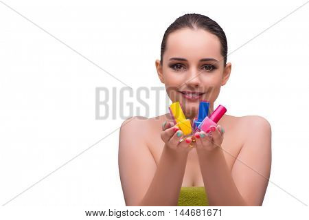 Woman in hand treatment manicure concept