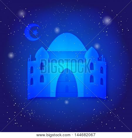 Ramadan Kareem islamic background. Eid mubarak. Islam holly month. Ramadan greeting template. Midnight muslim architecture. Mosque on universe.