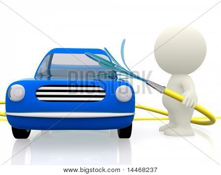 3D man washing the car - isolated over a white background