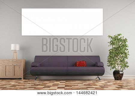 Empty panorama canvas on wall in living room over a sofa (3D Rendering)