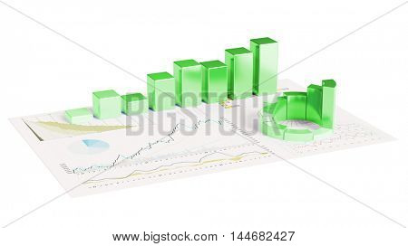 Ecological financial planning with sustainability concept and 3D graphs on paper (3D Rendering)