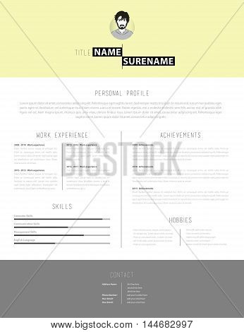 Simple but creative cv template with yellow background.