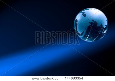 Glass globe on nice dark background with free space for text