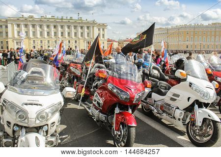 St. Petersburg, Russia - 13 August, Rows of motorcycles with flags,13 August, 2016. The annual International Motor Festival Harley Davidson in St. Petersburg.