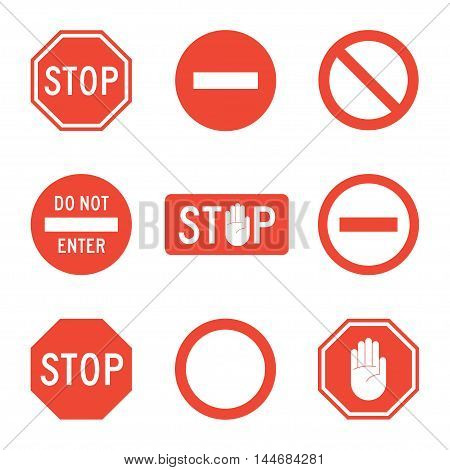Stop signs set of vector icons isolated from the background. Forbidding traffic or road signs in a flat style. Stop sign with the hand or palm.