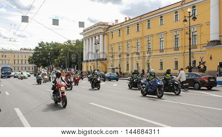 St. Petersburg, Russia - 13 August, The group of bikers on the road,13 August, 2016. The annual International Motor Festival Harley Davidson in St. Petersburg.