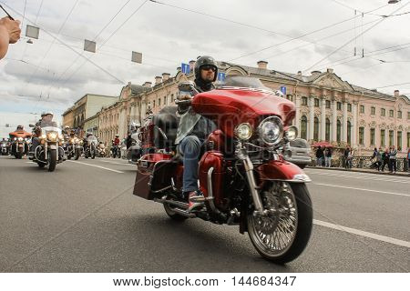 St. Petersburg, Russia - 13 August, Motorcyclists on the background of the historic buildings,13 August, 2016. The annual International Motor Festival Harley Davidson in St. Petersburg.