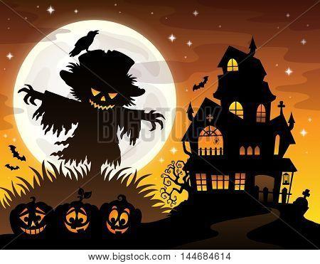 Halloween scarecrow silhouette theme 2 - eps10 vector illustration.