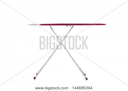 Red ironing board isolated on white background