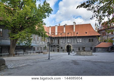 Inner court of Ceske Krumlov Castle. Czech republic