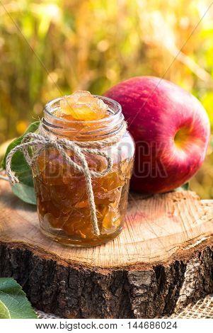 Jar of apple preserves still-life closeup shot