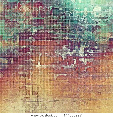 Retro abstract background, vintage grunge texture with different color patterns: green; blue; red (orange); purple (violet); yellow (beige); brown
