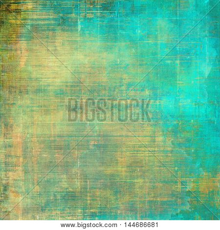 Grunge background with delicate aged texture. Antique backdrop with retro vintage elements and different color patterns: green; blue; yellow (beige); brown; cyan