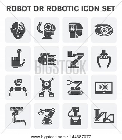 Robot or robotic vector icon set design.