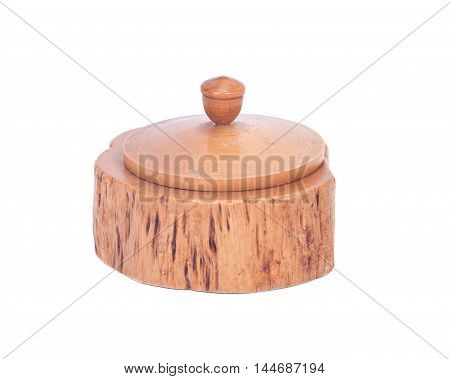 Wooden round box separated on white background