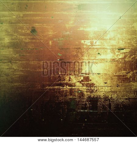 Creative grunge background in vintage style. Faded shabby texture with different color patterns: gray; green; red (orange); yellow (beige); brown; black