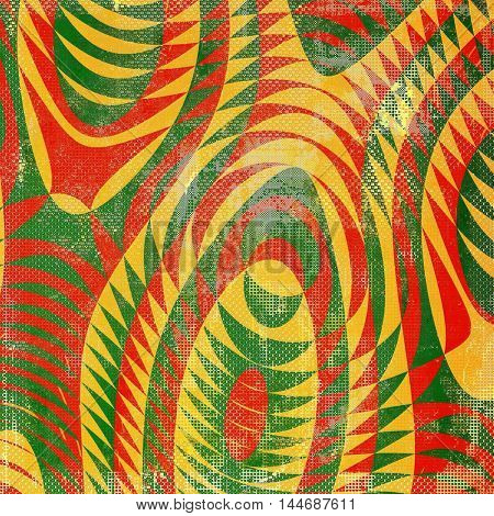 Geometric veined grunge background or scratched texture with vintage feeling and different color patterns: green; red (orange); yellow (beige)