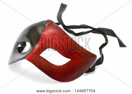 Male red and black carnival mask isolated on white background