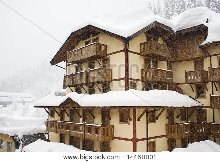 Hotel in the mountains after a snowfall