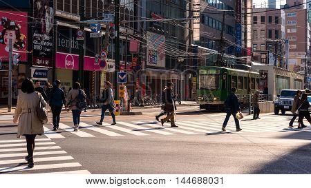 People Cross Street At Susukino, Sapporo