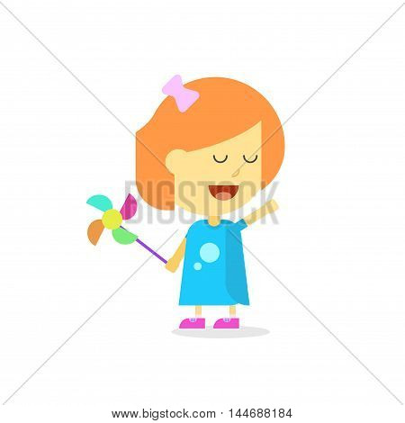 Happy little girl cartoon style isolated on white background, flat child kid plying with toy and smiling face
