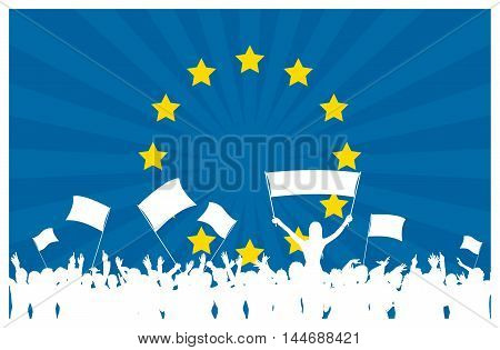European Union flag with cheering, celebrating or protesting crowd of people with flags and banners