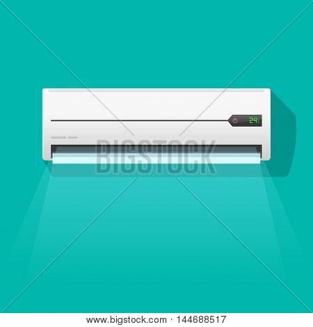 Air conditioner vector illustration isolated on green color background, flat simple air conditioning unit blowing