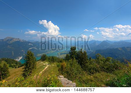 View on Wolfgangsee and surrounding mountains of the Salzkammergut in Salzburg Austria on a beautiful sunny day.