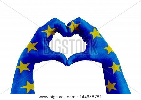 pray for europe man hands in the form of heart with the flag of europe on the white background concept for hope and helpful support for the european violence victims