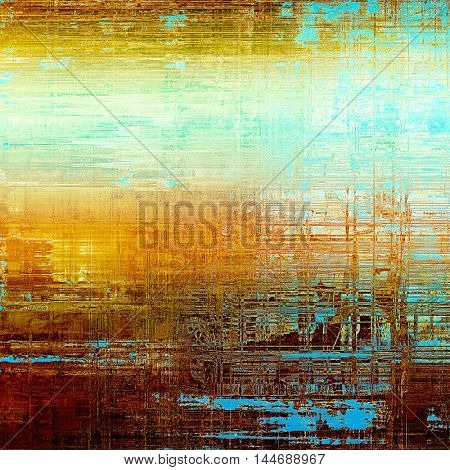 Oldest vintage background in grunge style. Ancient texture with different color patterns: green; blue; red (orange); yellow (beige); brown; white
