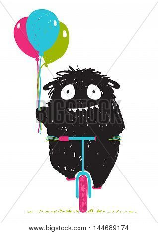 Happy funny little monster in action with balloons and bicycle for children cartoon illustration. Vector drawing.