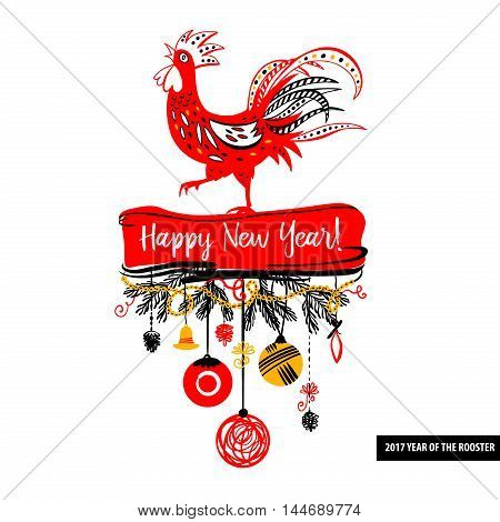 Illustration for happy new year 2017 red rooster. Silhouette cock. Vector element of design logo, logotype, card, poster, clothing, postcard, calendar and invitation with rooster 2017.