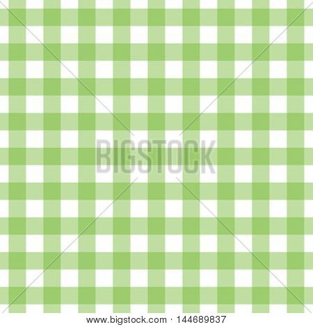 Seamless gingham pattern in lime green check. Tablecloth, placemat, picnic napkin print.