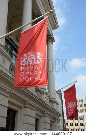 Covent Garden London England United Kingdom - August 16 2016: Red Flags of Royal Opera House