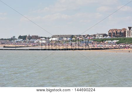 Clacton on Sea United Kingdom - August 26 2016: Crowded beach on air show day at Clacton viewed from the pier