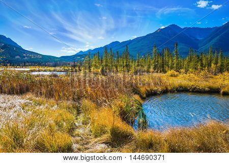 Magnificent sunny day in lakes Vermilion. Concept of ecotourism. Canadian province of Alberta, the Rocky Mountains, Banff