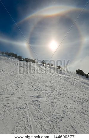 Varoious sun halos appearing in the winter sky