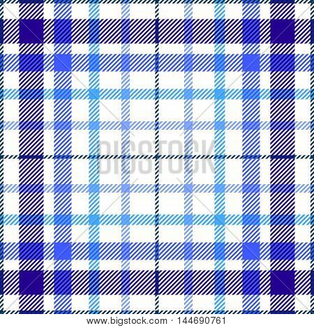 Seamless tartan plaid pattern. Twill texture in shades of navy blue, sky blue & soft baby blue on white background.