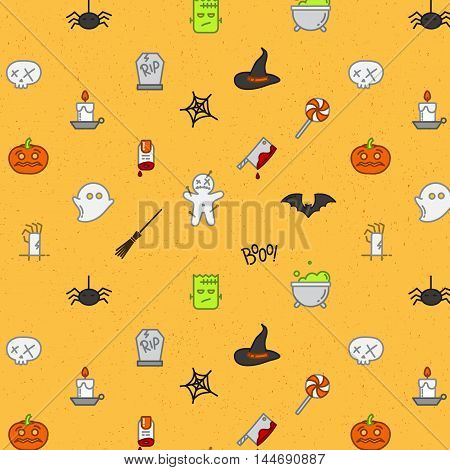 Halloween color pattern soft drawing in flat style