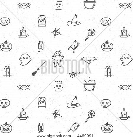 Halloween gray pattern soft drawing in flat style