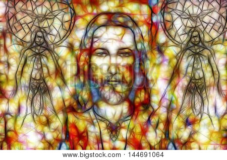 Jesus And Beautiful Angel Being With Dove, Spiritual Concept. Fractal Painting.