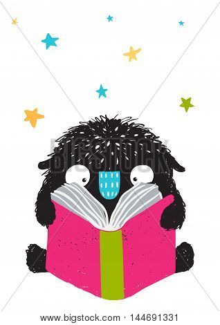 Happy funny little monster education and reading, picture for children. Cartoon illustration. Vector drawing.
