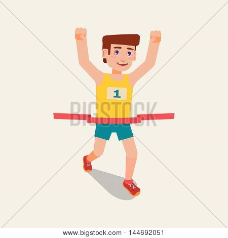 A runner crosses the finish line. The man won the tournament. Man number one raised his hands up happy - he's the best in the race.
