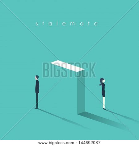 Business concept of conflict between workers at work. Gender difference and confrontation symbol in communication. Eps10 vector illustration.